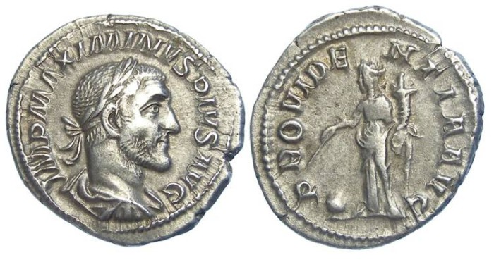 Ancient Coins - Maximinus I. AD 235 to 238. Silver denarius.