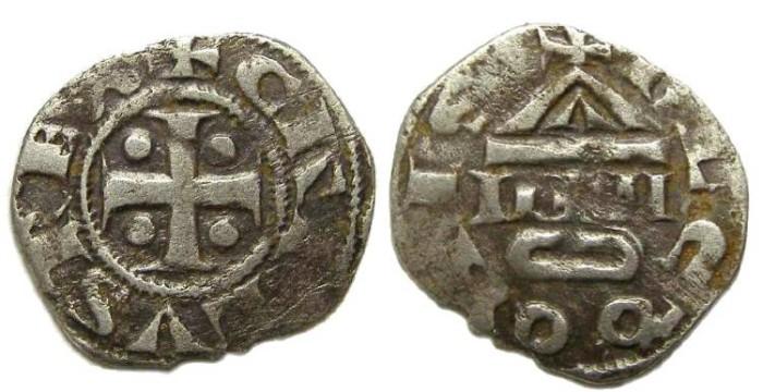 Ancient Coins - French Feudal. Lons-Le-Saulnier. ca. AD 1100.  Silver denier