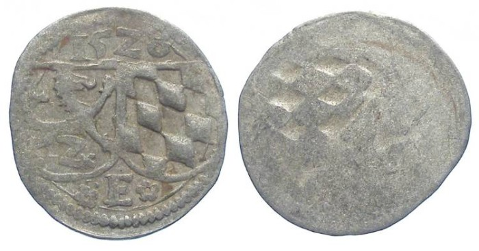 World Coins - Germany, Passau Bishopric of Patavia (in Bavaria). Ernst Herzog, AD 1517 to 1540. Billon Zweier. Dated 1528.