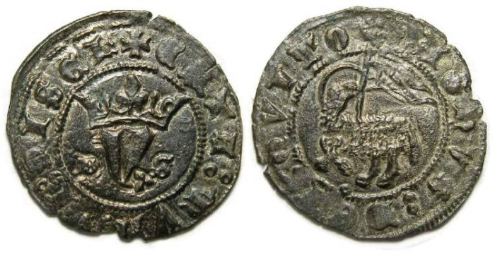 Ancient Coins - Spain, Castile & Leon. Juan I, AD 1379 to 1390. Billon blanca del Agnus Dei.