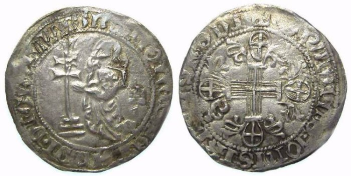 Ancient Coins - Crusader. Rhodes. Juan Fernandez of Heredia, AD 1376 to 1396, Silver Gigliato.