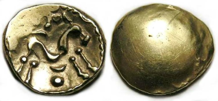 Ancient Coins - Gallo-Belgic gold stater.  1st century BC.