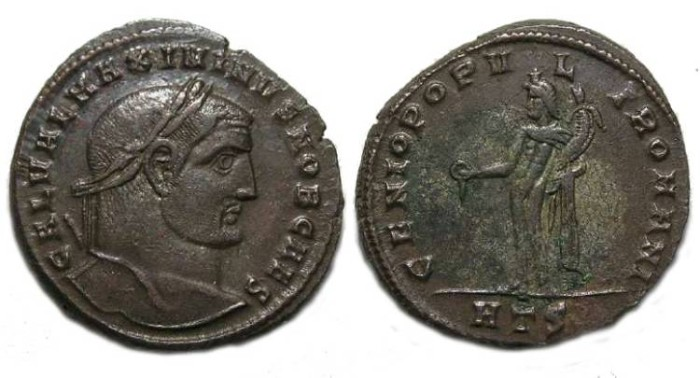 Ancient Coins - Maximinus II, as Caesar, AD 305 to 308. Bronze follis.