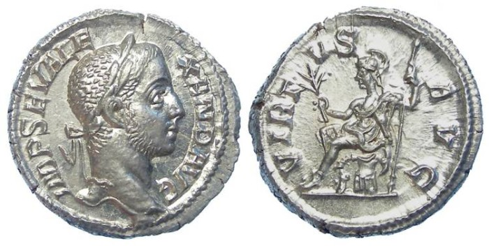 Ancient Coins - Severus Alexander. AD 222-235. Silver denarius.  MINT STATE.