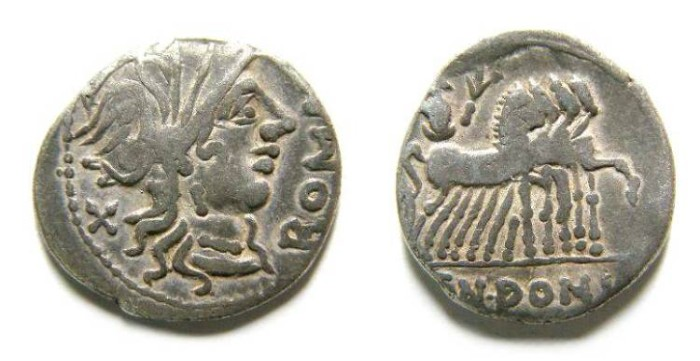 Ancient Coins - Roman Republic. Cn. Domitius Ahenobarbus. 116-115 BC. Silver denarius