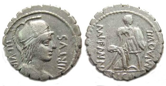 Ancient Coins - Roman Republic.  Mn. Aquillius. ca. 71 BC.