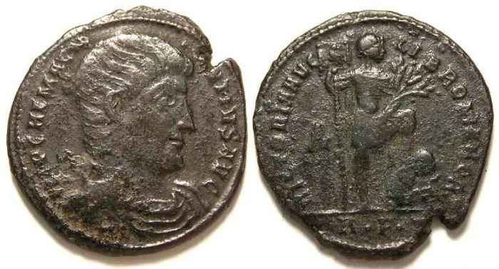 Ancient Coins - Magnentius, AD 350 to 353.  Bronze centenionalis.