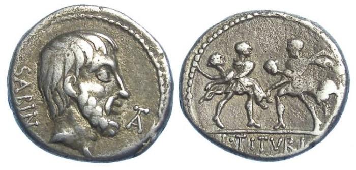 Ancient Coins - Roman Republic. L. Titurius L. f. Sabinus. ca. 89 BC.