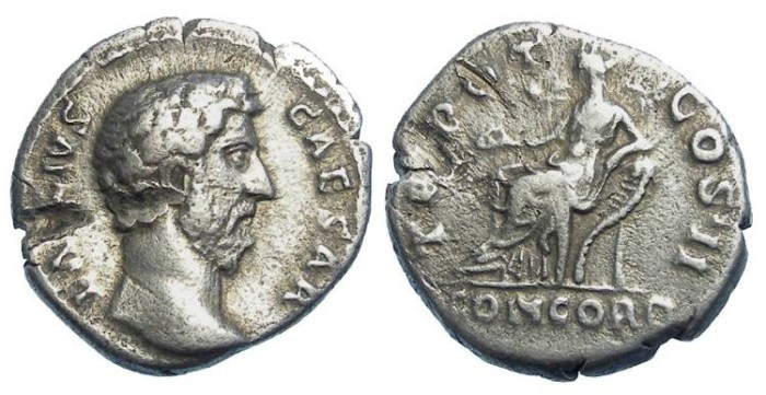 Ancient Coins - Aelius as Caesar under Hadrian. AD 136 to 138.  Silver denarius.  Damaged.
