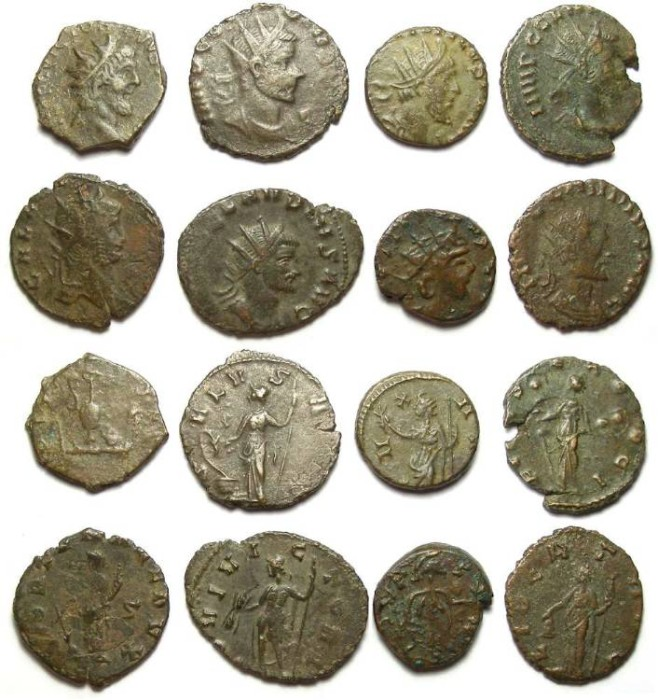 Ancient Coins - Lot of 8 mixed Roman barbarous radiates and crude strike official coins.