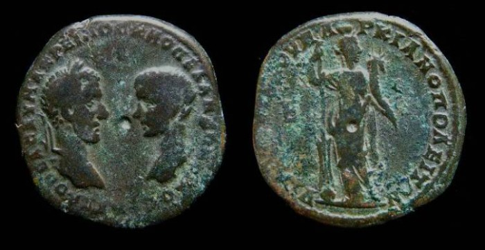 Ancient Coins - Macrinus and Diadumenian, AD 217 to 218. AE 27 from Marcianopolis.