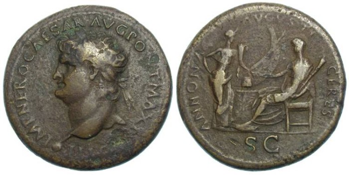 Ancient Coins - Nero, AD 54 to 68. Bronze sestertius.