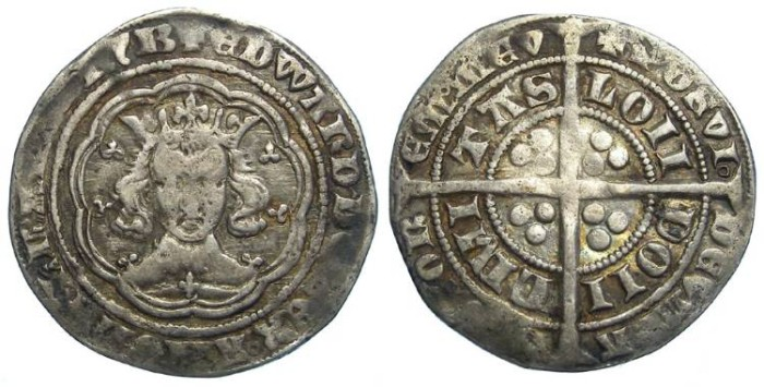 Ancient Coins - English, Edward III, AD 1327 to 1377. Silver groat. Revere die error re-cut.