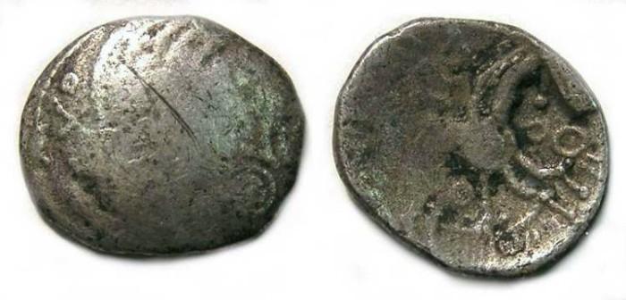 Ancient Coins - Celtic, British. Artrebates.  Danebury type silver unit. - Very rare type.