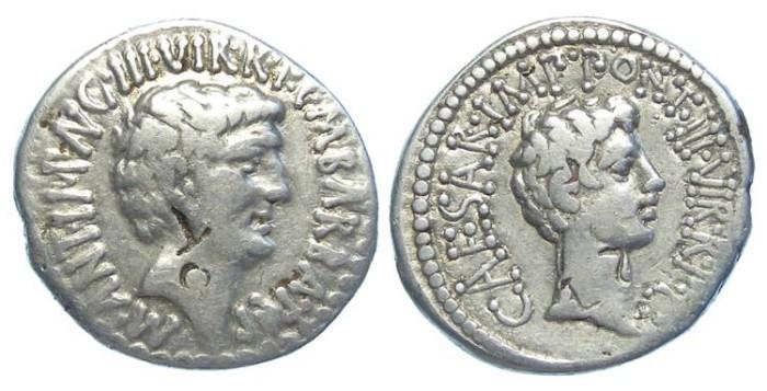Ancient Coins - Mark Antony and Octavian. Silver denarius. ca.41 BC.