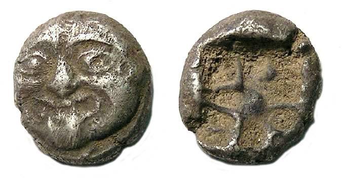 Ancient Coins - Mysia, Parion.  Silver hemidrachm.  ca. 480 BC.