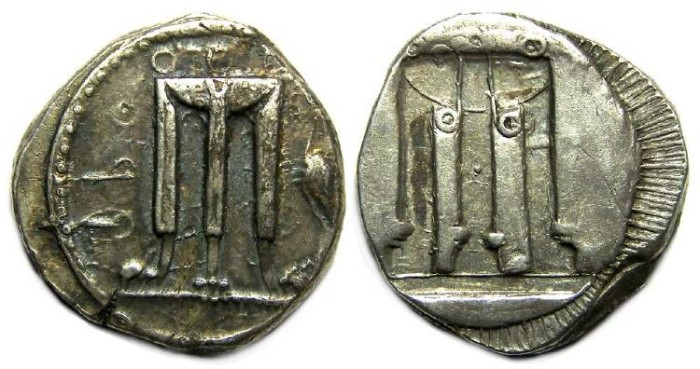 Ancient Coins - Kroton in Bruttium. Silver stater, ca. 510 to 480 BC.