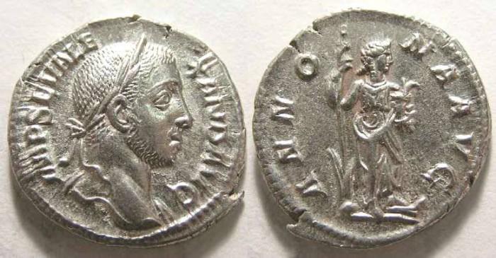 Ancient Coins - Severus Alexander. AD 222-235. Silver denarius,