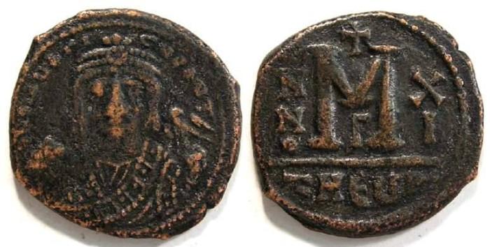 Ancient Coins - Byzantine. Maurice Tiberius. AD 582 - 602. Bronze follis