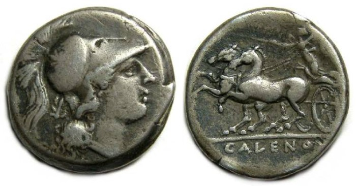 Ancient Coins - Cales in Campania, ca. 265 to 240 BC. Silver didrachm.  Roman issue of the First Punic war period.