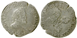 World Coins - French Royal.  Henri IV, 1605 B (Rouen).  1/2 Franc.