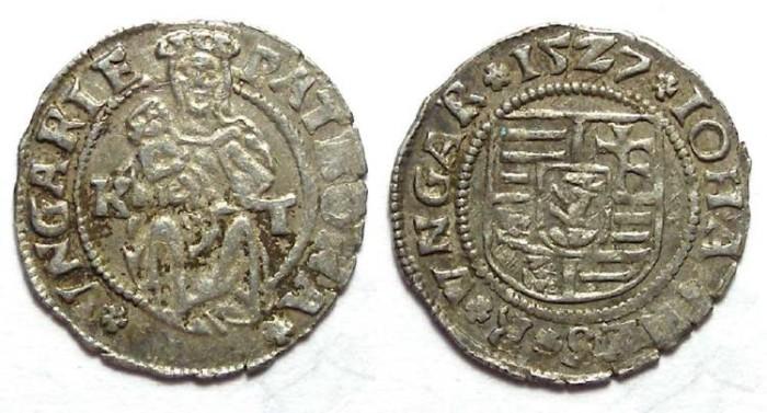 Ancient Coins - Hungary. John Zapolya. 1527.  Silver denar.