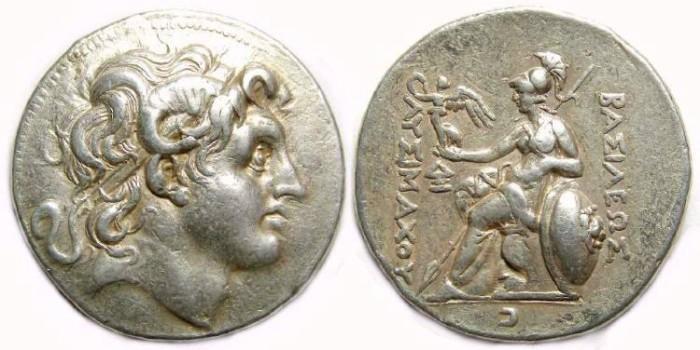 Ancient Coins - Kingdom of Thrace, Lysimachos, 297-281 BC. Silver tetradrachm.