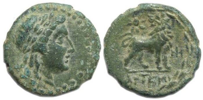Ancient Coins - Miletos in Ionia.  ca. 350 to 344 BC.  AE 19.