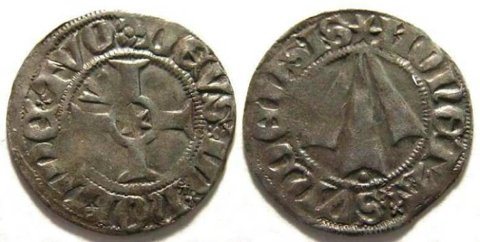 Ancient Coins - German States, Stralsund.  Silver witten.  15th century.