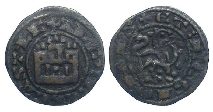 Ancient Coins - Spain, Castile & Leon. Alfonso X, AD 1252 to 1284. Copper Maravedi Prieto.