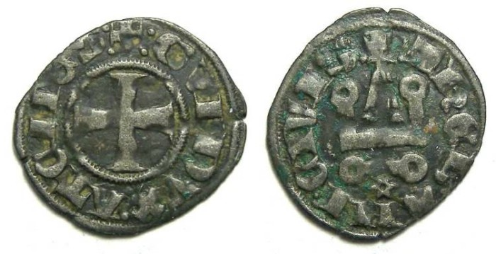 Ancient Coins - Crusaders in Frankish Greece, Athens, Guy II, majority AD 1294 to 1308.  Billon denier.