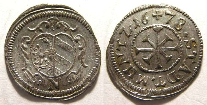 Ancient Coins - Germany.  Nurnberg.  Silver Kreuzer of 1678.