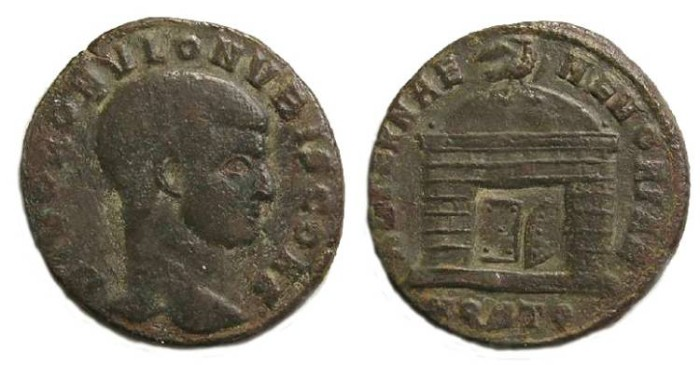Ancient Coins - Romulus.  AE follis.  Struck after his death in AD 309.