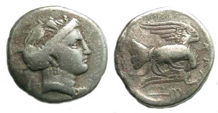 Ancient Coins - Euboia, Chalkis. Silver drachm. 340-294 BC