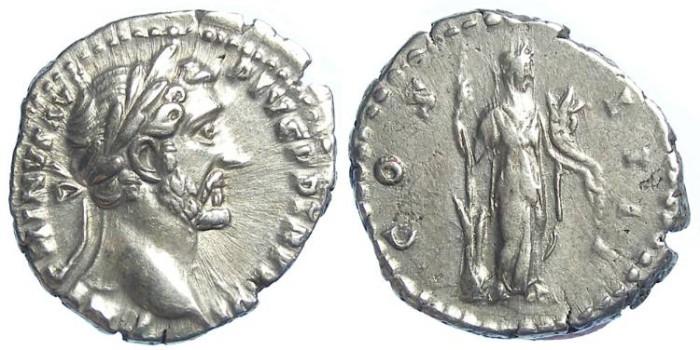 Ancient Coins - Antoninus Pius, Silver denarius, S-4073