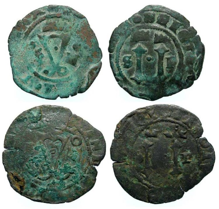 Ancient Coins - Spanish Colonial. Santa Domingo. ca. AD 1540's to 1550's. AE 4 maravedes. First Coin of the Caribbean. Dealer lot of 2 coins.
