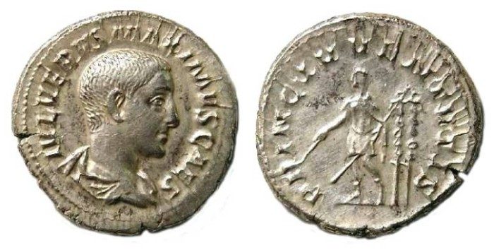 Ancient Coins - Maximus as Caesar. AD 235 to 238. Silver denarius.