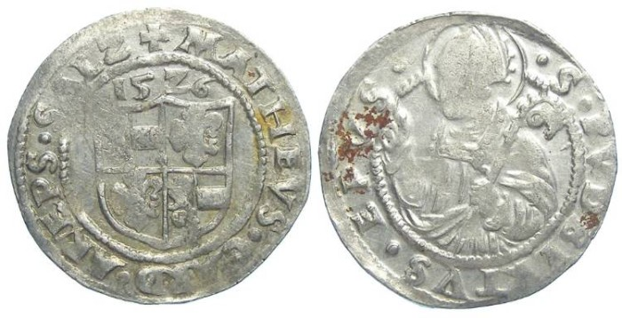 World Coins - Austria. Salzburg. Matthaus Lang von Wellenburg, AD 1526. Silver half batzen.