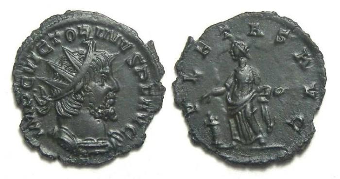 Ancient Coins - Victorinus, AD 269 to 271. Bronze antoninianus.