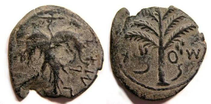 Ancient Coins - Judaea, Bar Cochba war, AE-25.