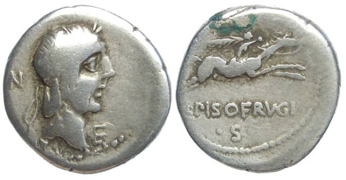Ancient Coins - Roman Republic. L. Calpurnius Piso L.f. L.n Frugi. ca. 90 BC. Silver denarius.