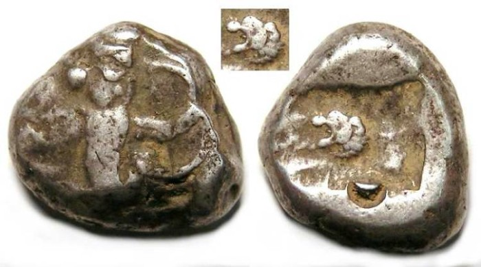 Ancient Coins -  Royal Persian Coinage. ca. 450 to 330 BC. Rare type with Lion's head on reverse die.