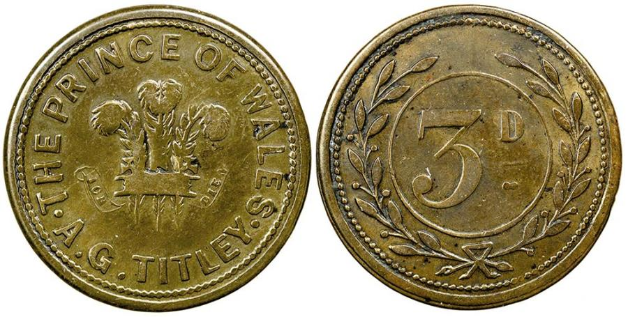 World Coins - England.  Cheltenham in Glouchestershire.  Prince of Wales pub. 1876 to 1878.  3 Pence.
