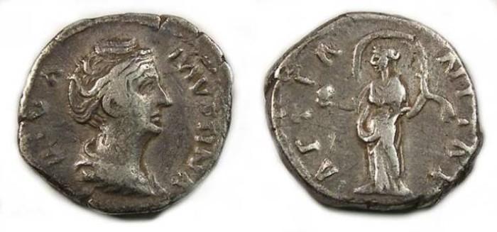 Ancient Coins - Diva Faustina Senior. Silver denarius.