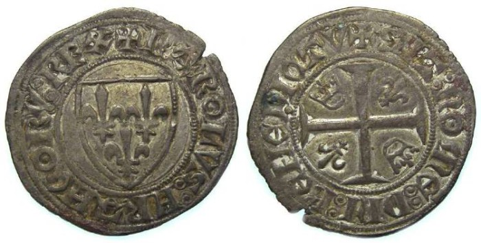 Ancient Coins - France.Charles VI, AD 1380 to 1422. Blanc Guenar. Royal series.
