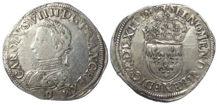 Ancient Coins - France. Royal.  Charles IX.  Silver Teston.  AD 1563.