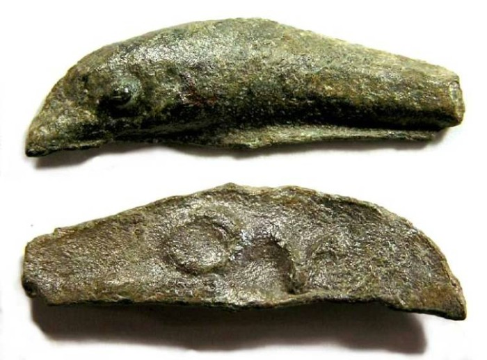 Ancient Coins - Olbia in Thrace, bronze dolphin coin, INSCRIBED