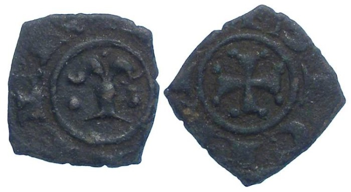 World Coins - Italy.  Kingdom of Sicily.  Manfred von Hohenstaufen, 1258-1266.  Billon Denaro.