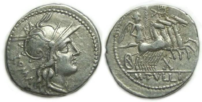 Ancient Coins - Roman Republic. M. Tullius. ca. 120 BC. Silver denarius.
