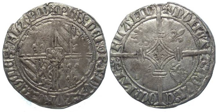 Ancient Coins - Low Countries, Flanders. Philipe le Bon, AD 1419 to 1467. Silver double Gros.